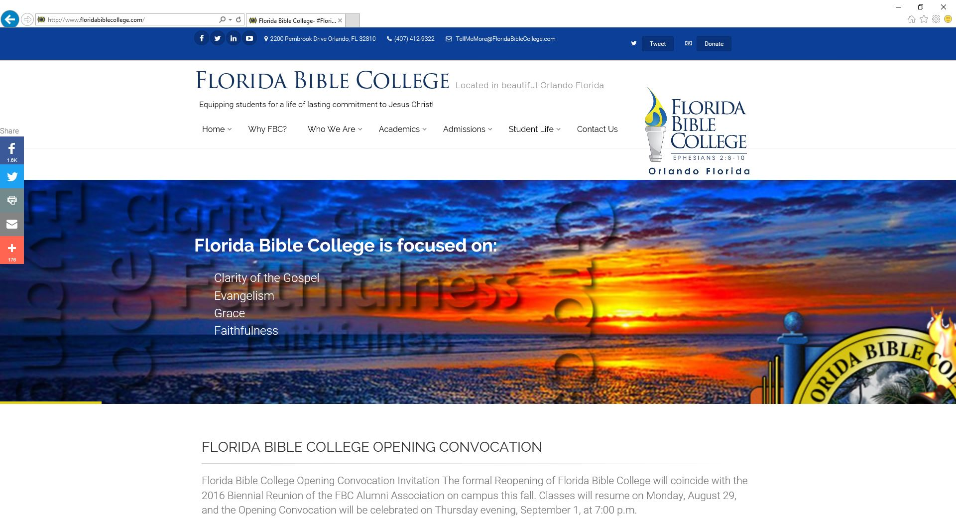 Florida Bible College Website a Your Ministry Site website production.