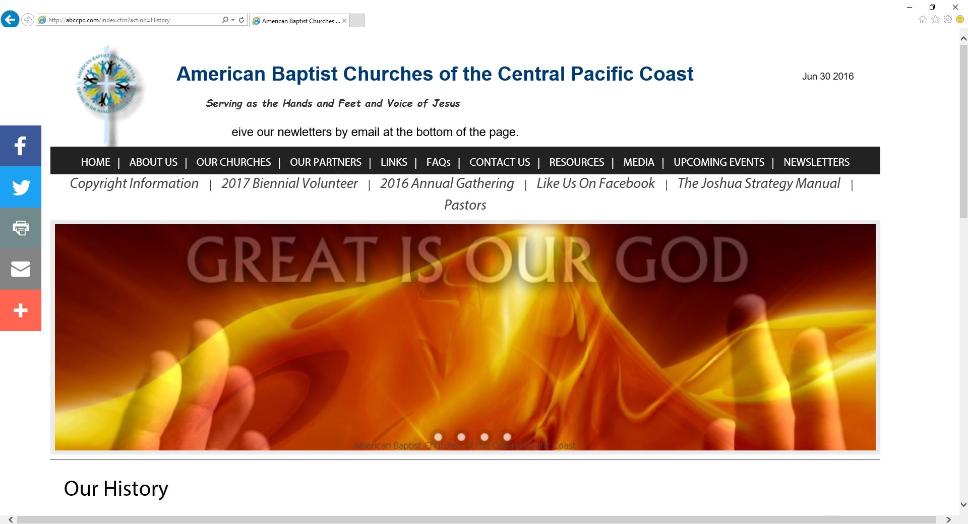 American Baptist Churches CPC Website a Your Ministry Site website production.